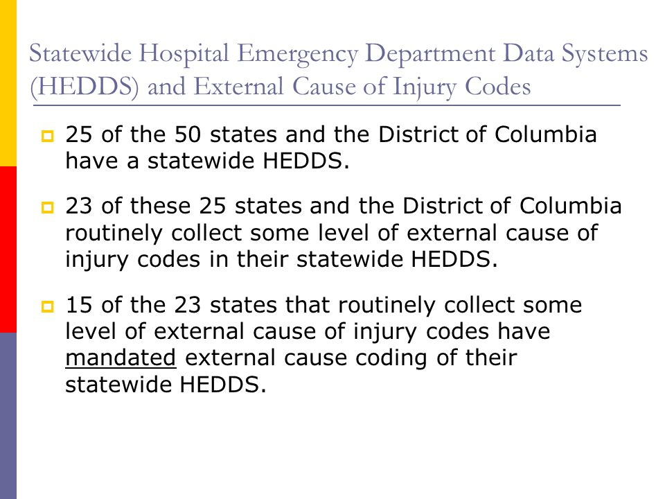 Statewide Hospital Emergency Department Data Systems (HEDDS) and External Cause of Injury Codes