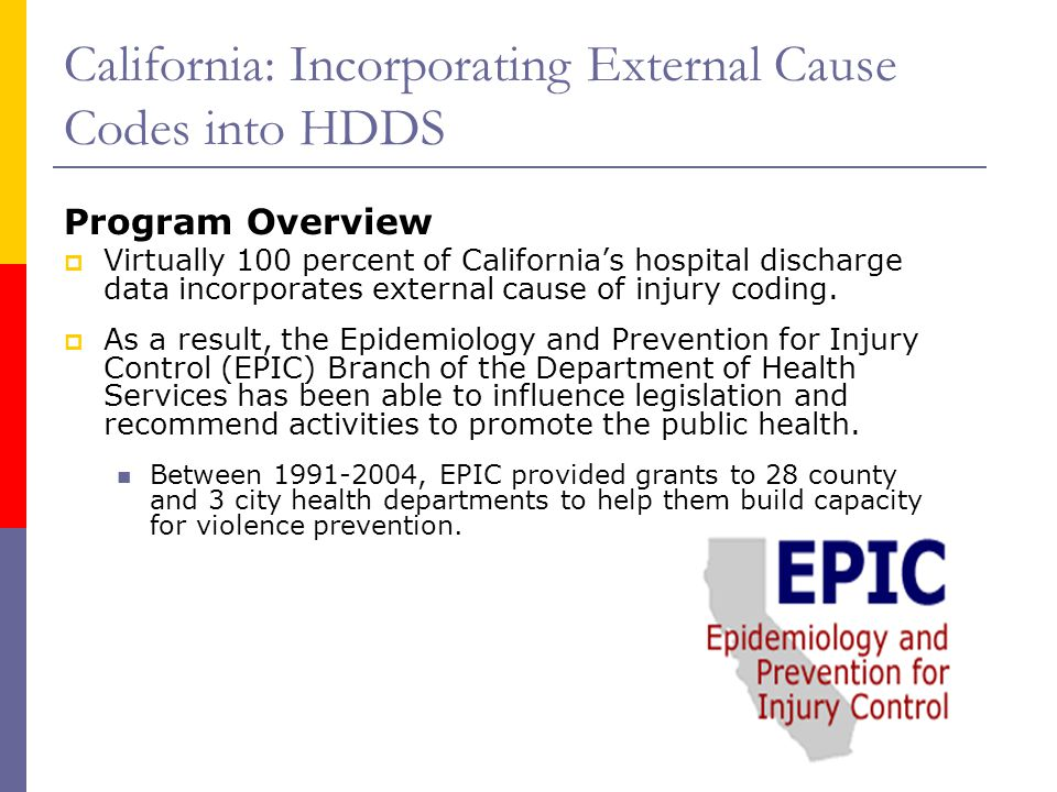 California: Incorporating External Cause Codes into HDDS