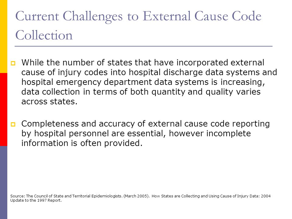 Current Challenges to External Cause Code Collection