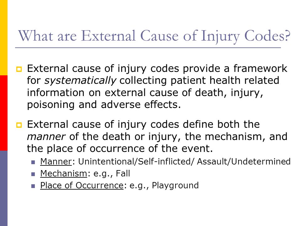 What are External Cause of Injury Codes