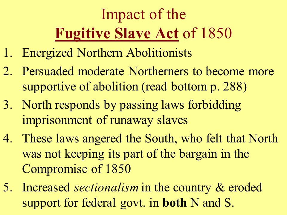 Impact of the Fugitive Slave Act of 1850