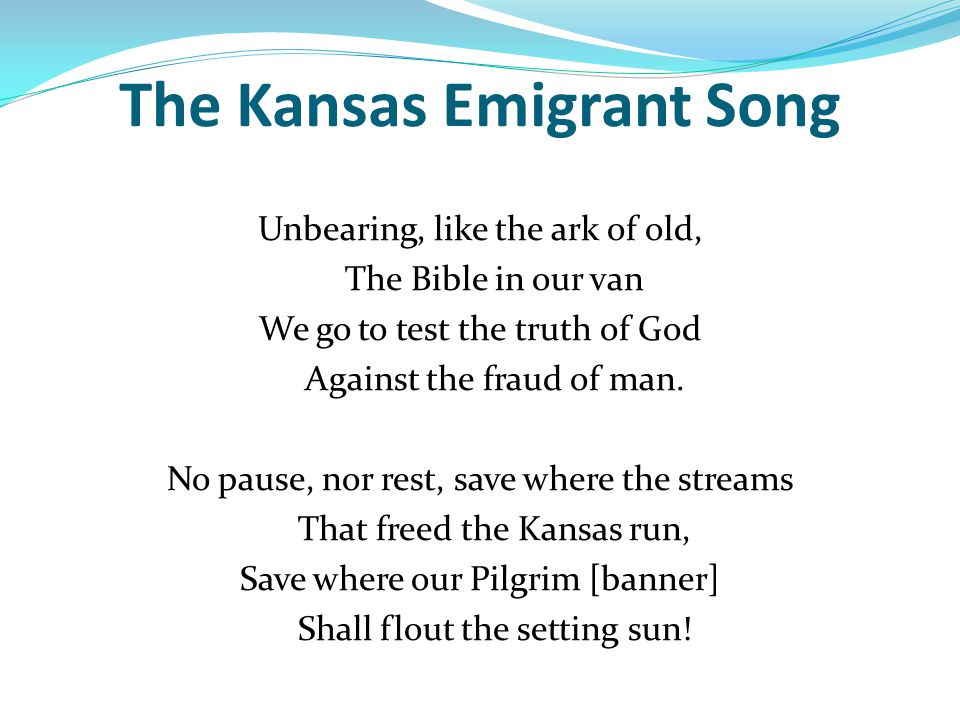 The Kansas Emigrant Song