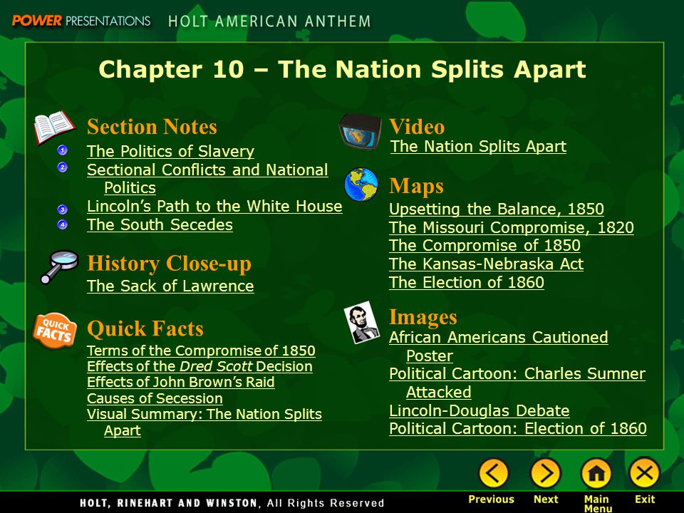Chapter 10 – The Nation Splits Apart