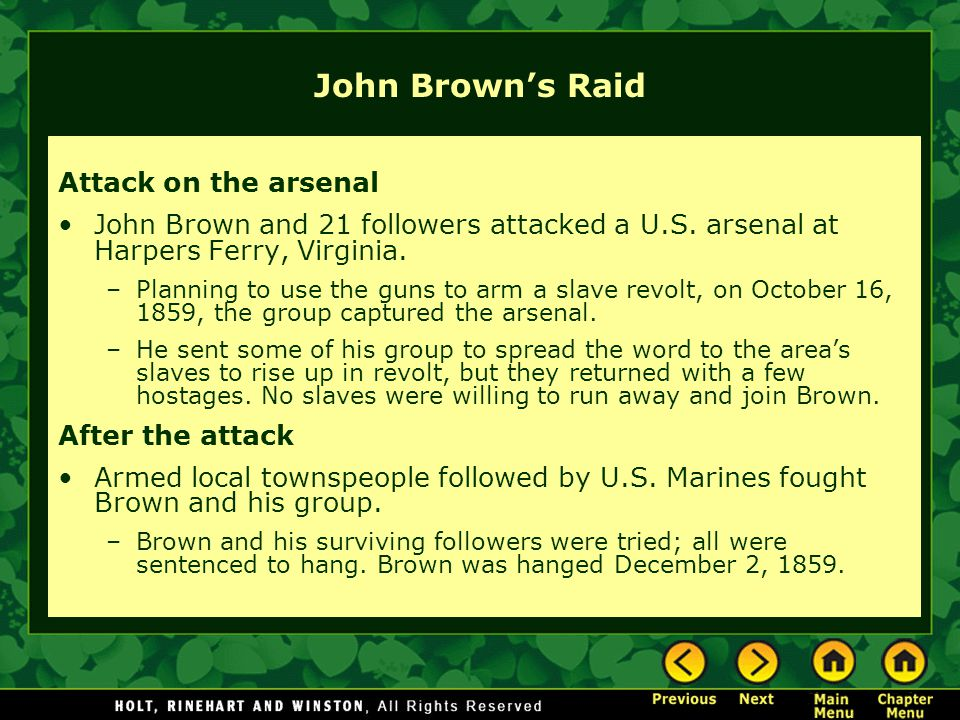 John Brown's Raid Attack on the arsenal