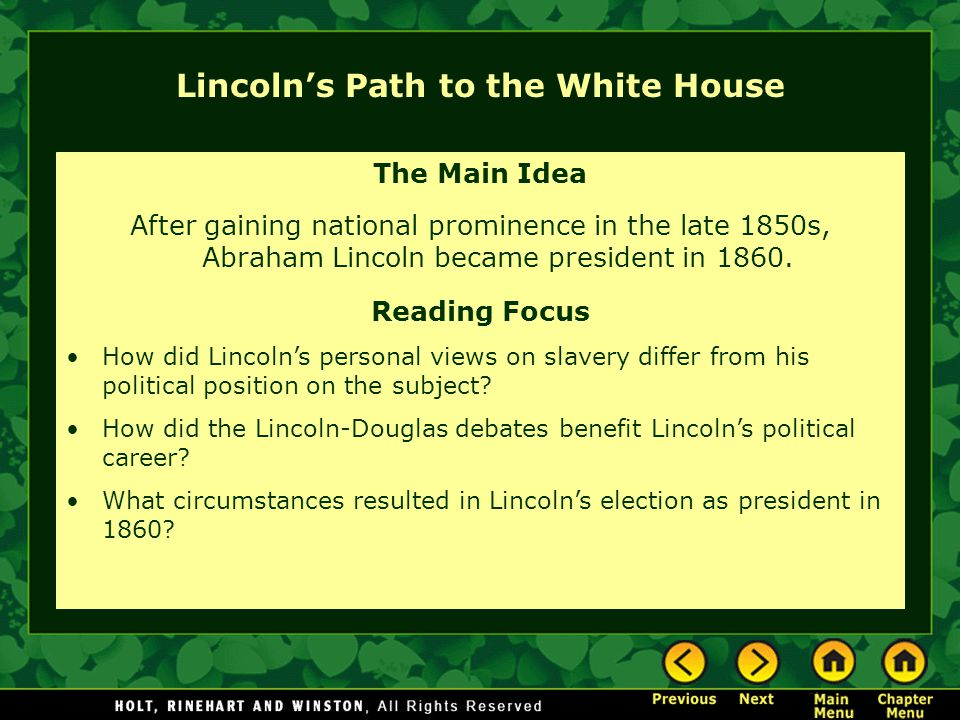 Lincoln's Path to the White House