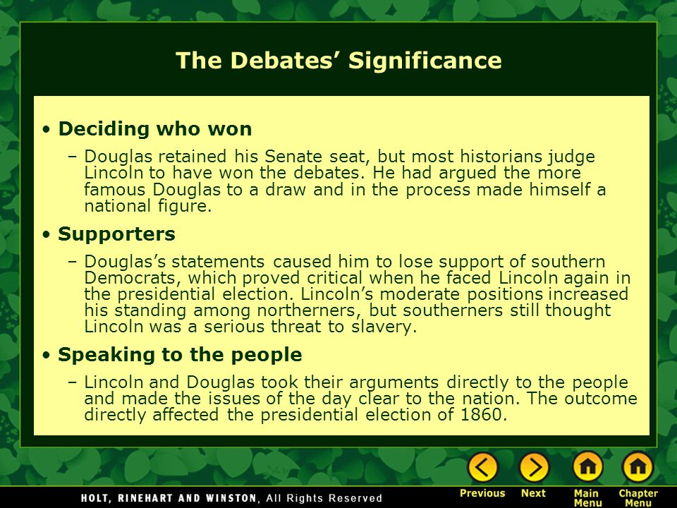 The Debates' Significance