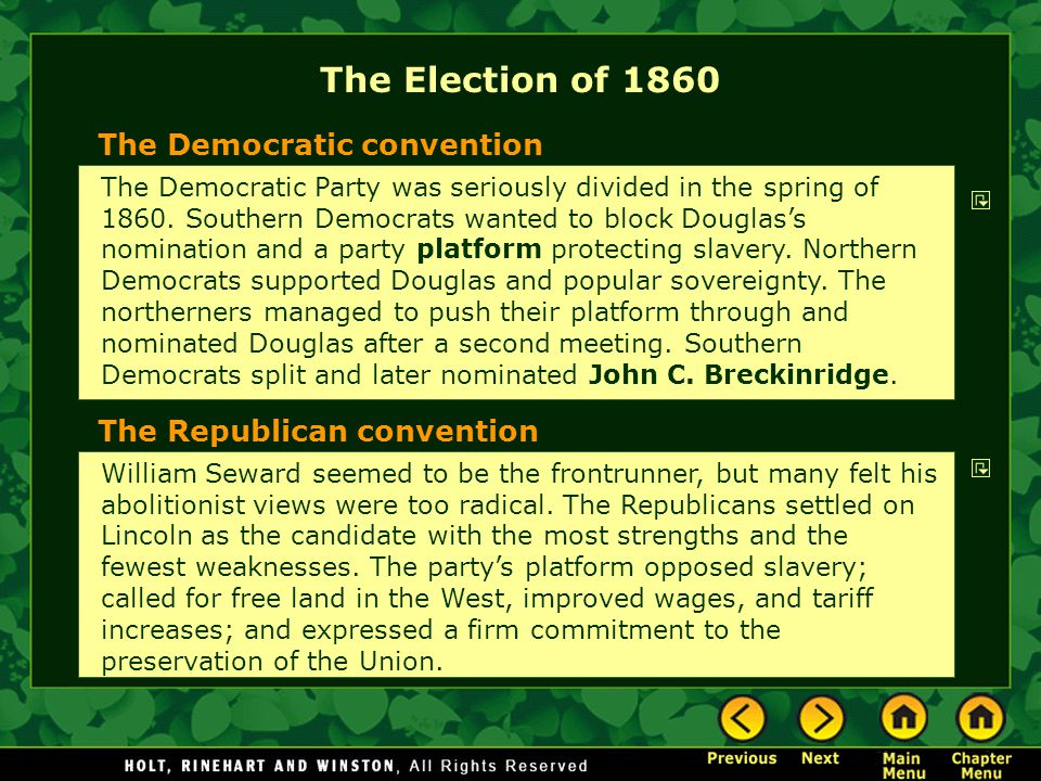 The Election of 1860 The Democratic convention
