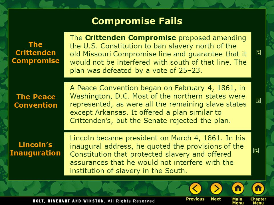 The Crittenden Compromise Lincoln's Inauguration
