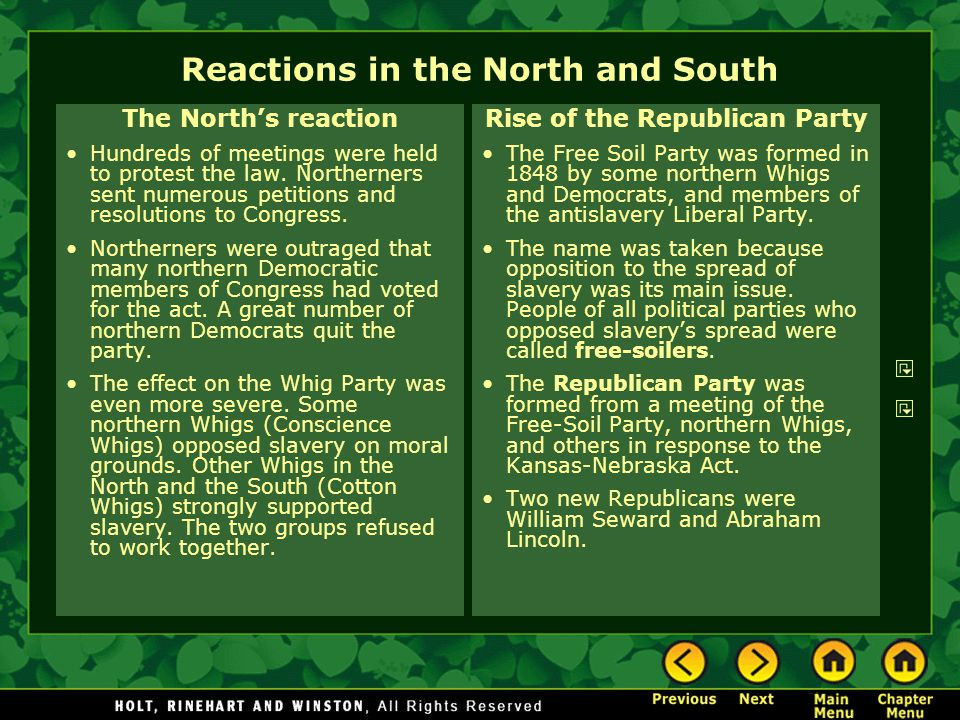 Reactions in the North and South