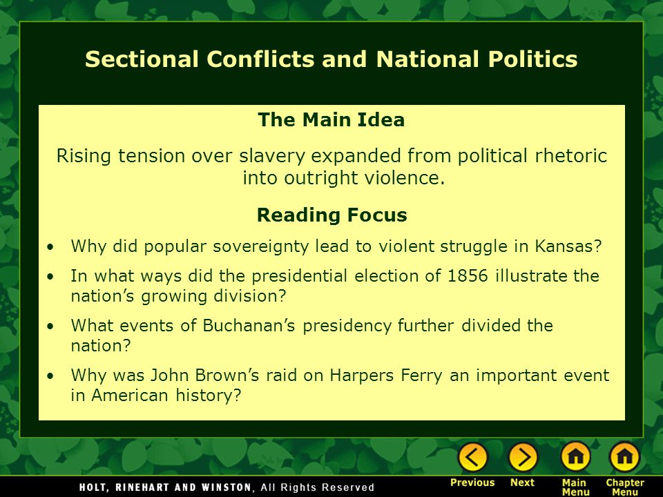Sectional Conflicts and National Politics