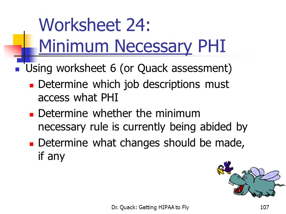 Worksheet 24: Minimum Necessary PHI