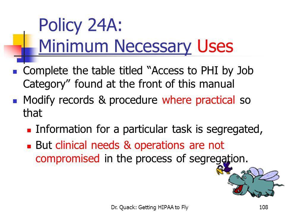 Policy 24A: Minimum Necessary Uses