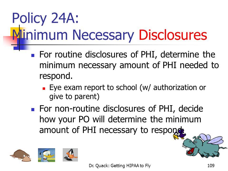 Policy 24A: Minimum Necessary Disclosures