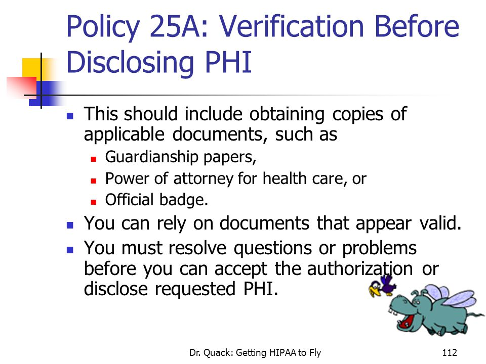 Policy 25A: Verification Before Disclosing PHI