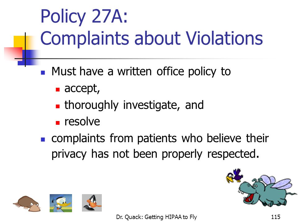 Policy 27A: Complaints about Violations