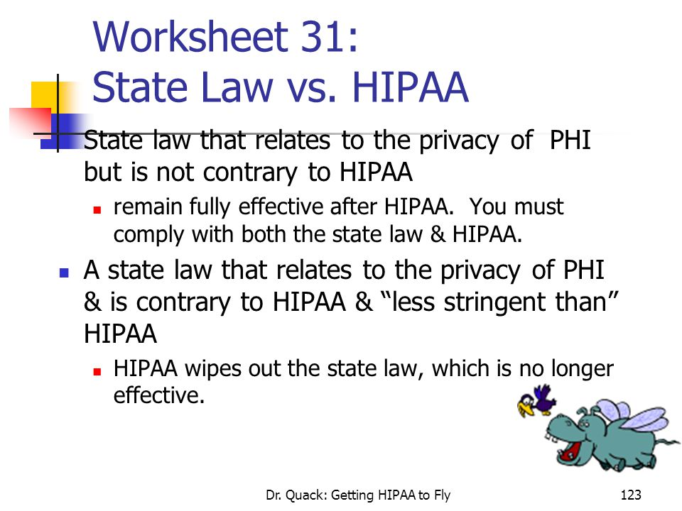 Worksheet 31: State Law vs. HIPAA