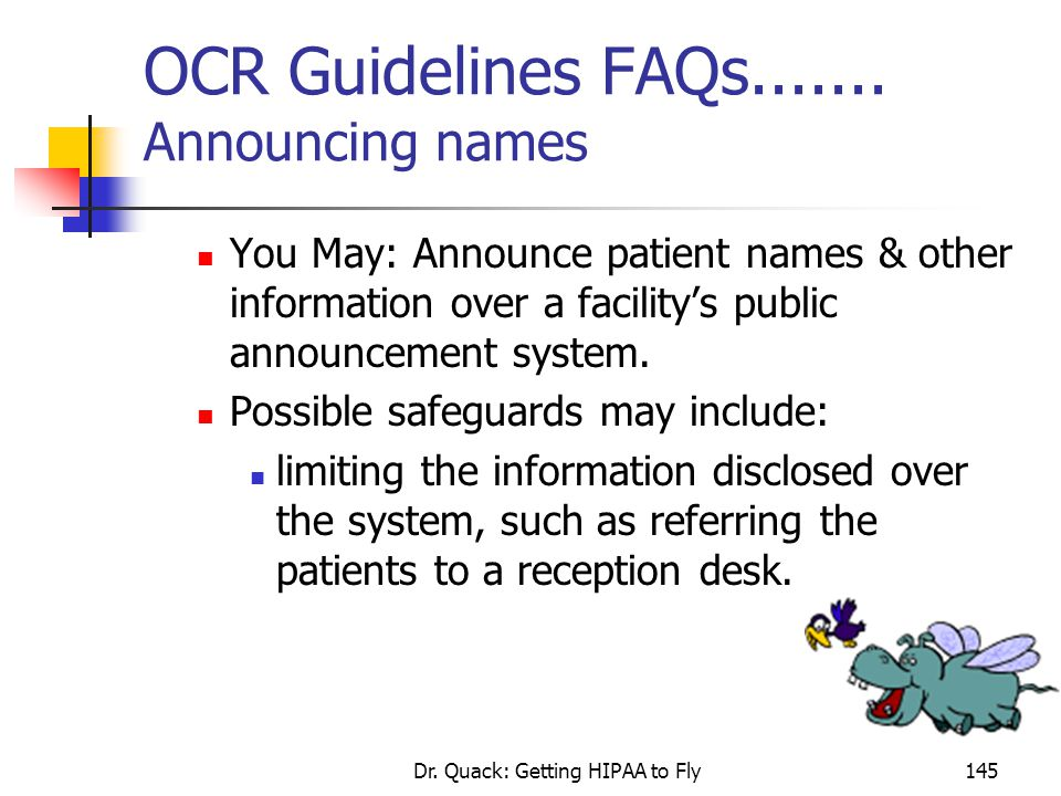 OCR Guidelines FAQs....... Announcing names