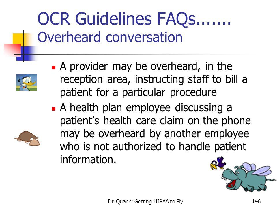 OCR Guidelines FAQs....... Overheard conversation
