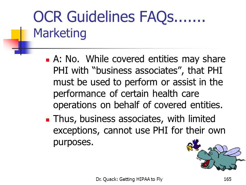 OCR Guidelines FAQs....... Marketing