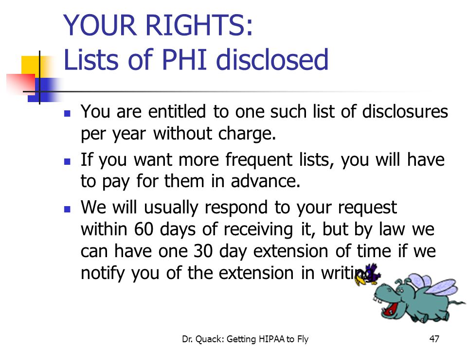 YOUR RIGHTS: Lists of PHI disclosed