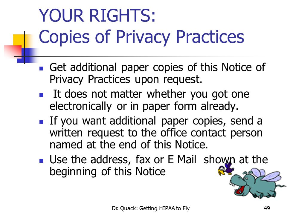 YOUR RIGHTS: Copies of Privacy Practices