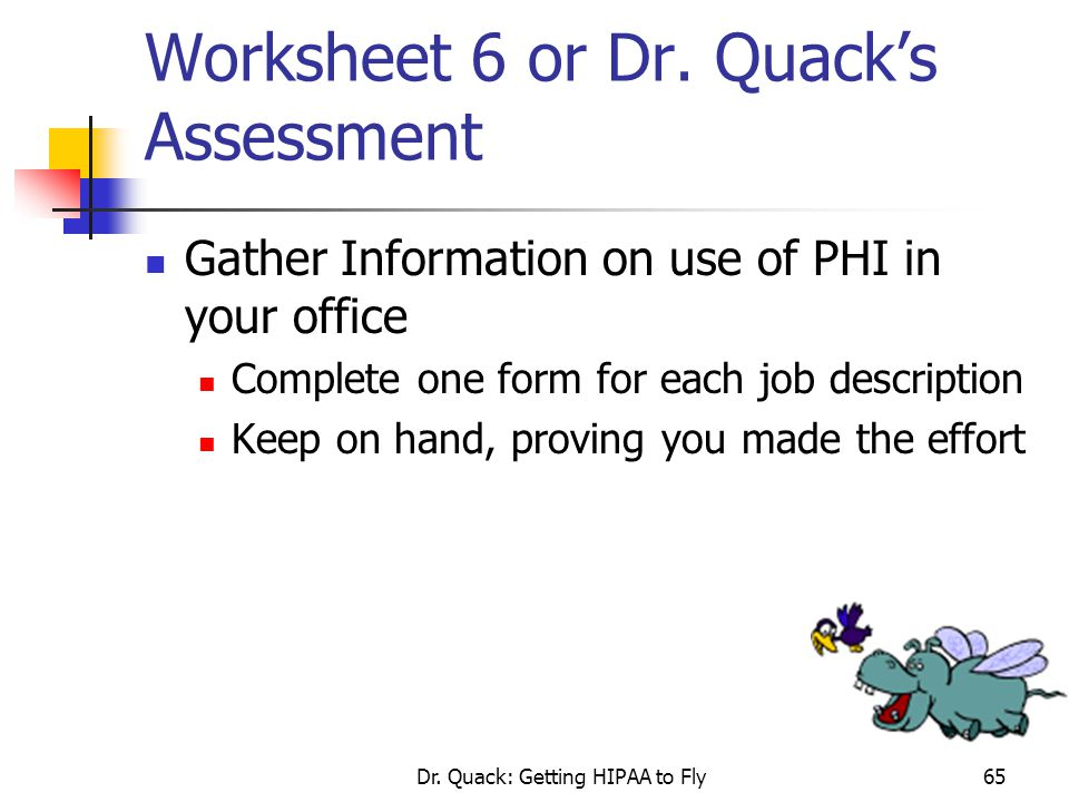 Worksheet 6 or Dr. Quack's Assessment