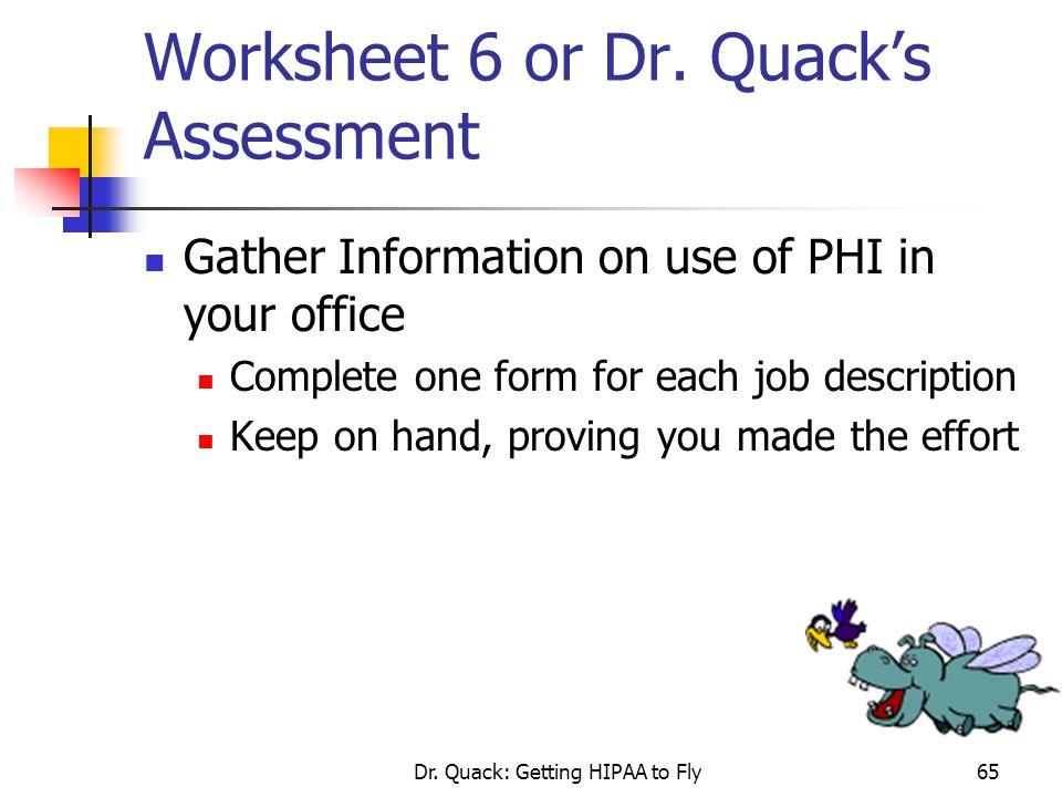 Worksheet 6 or Dr. Quack's Assessment