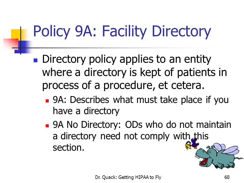 Policy 9A: Facility Directory