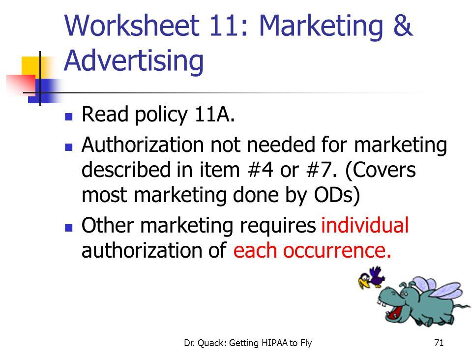 Worksheet 11: Marketing & Advertising