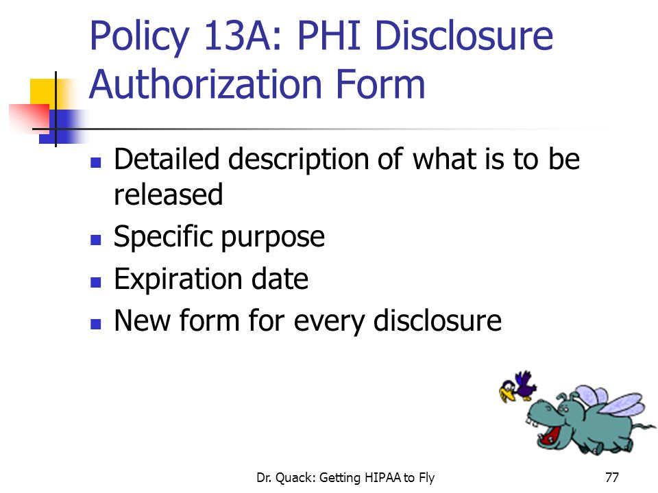 Policy 13A: PHI Disclosure Authorization Form