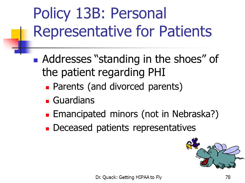 Policy 13B: Personal Representative for Patients
