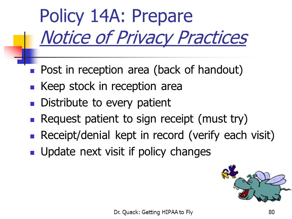 Policy 14A: Prepare Notice of Privacy Practices