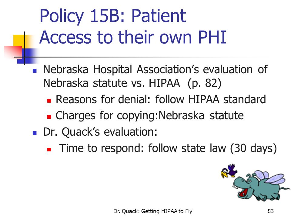Policy 15B: Patient Access to their own PHI
