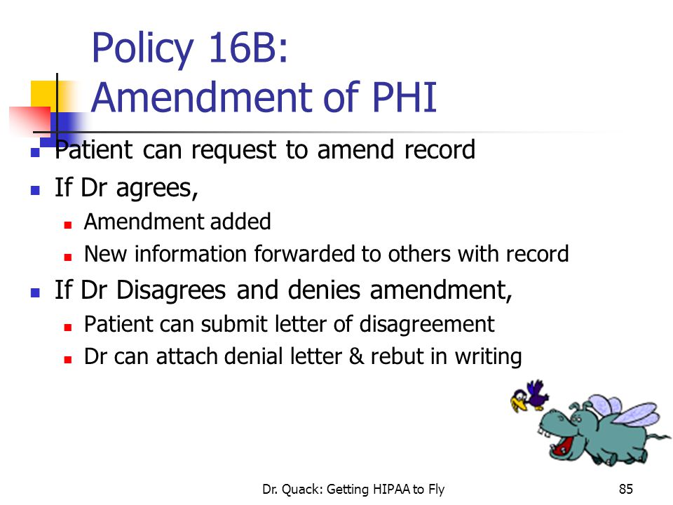Policy 16B: Amendment of PHI