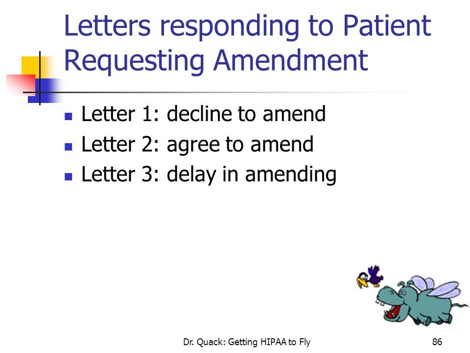 Letters responding to Patient Requesting Amendment