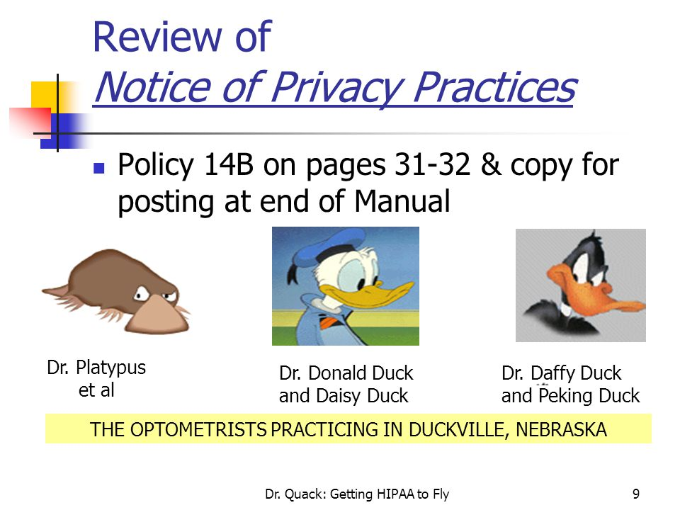 Review of Notice of Privacy Practices