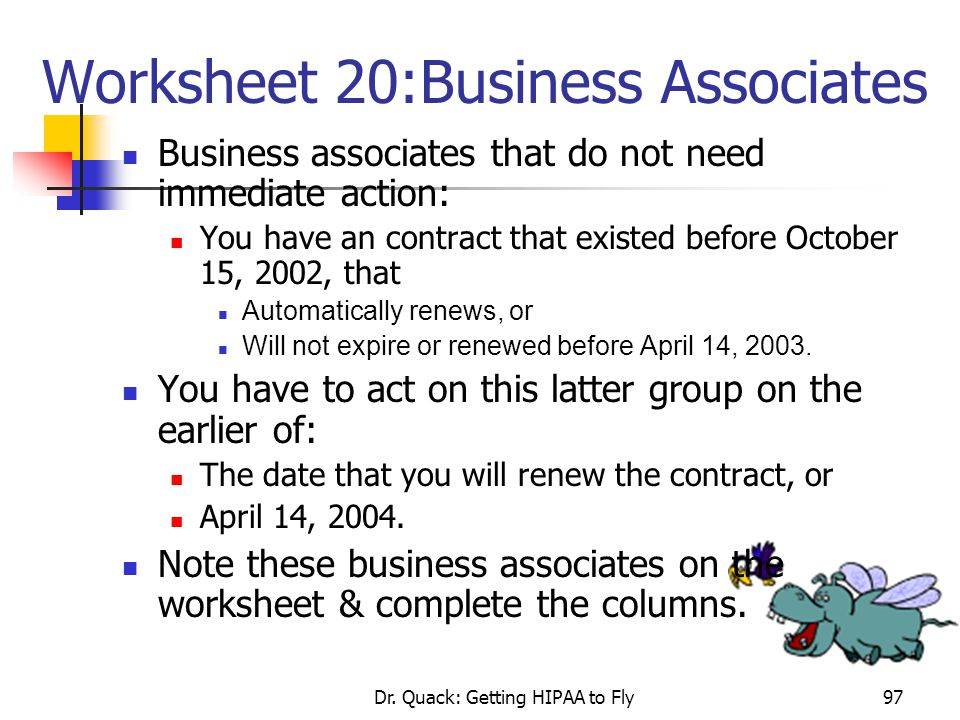 Worksheet 20:Business Associates