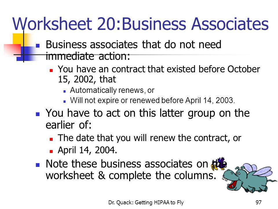 Worksheet 20:Business Associates