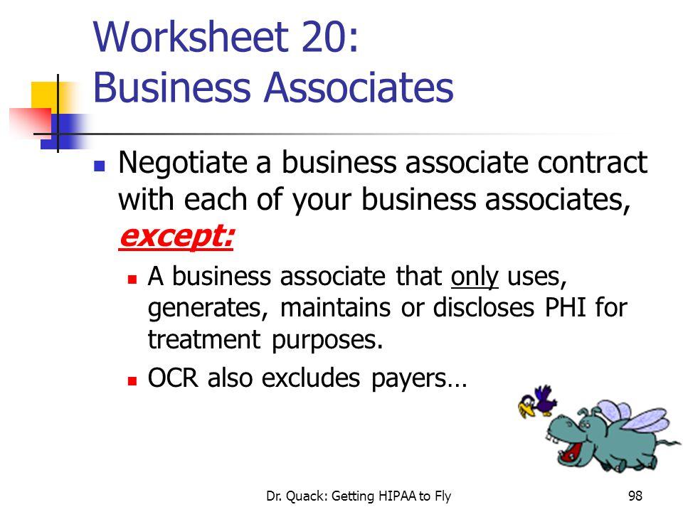 Worksheet 20: Business Associates