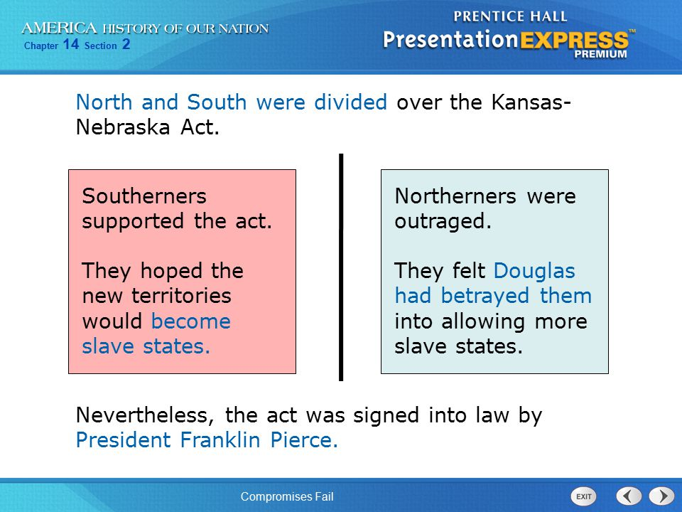 North and South were divided over the Kansas-Nebraska Act.