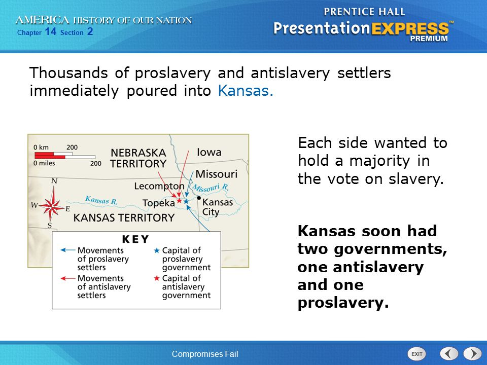 Thousands of proslavery and antislavery settlers immediately poured into Kansas.