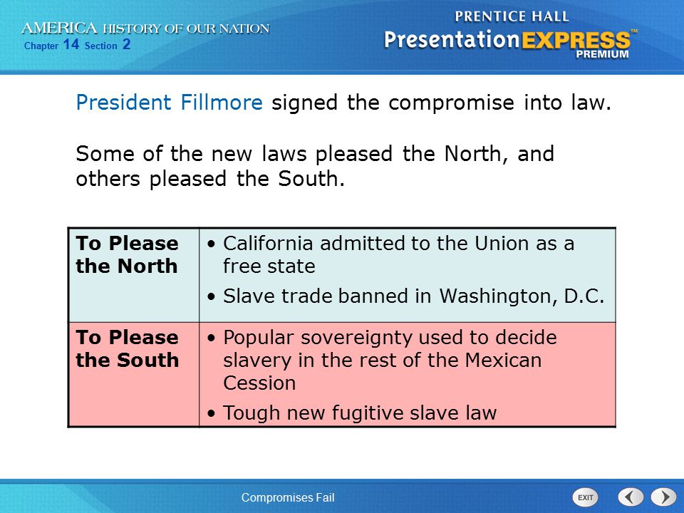 President Fillmore signed the compromise into law.