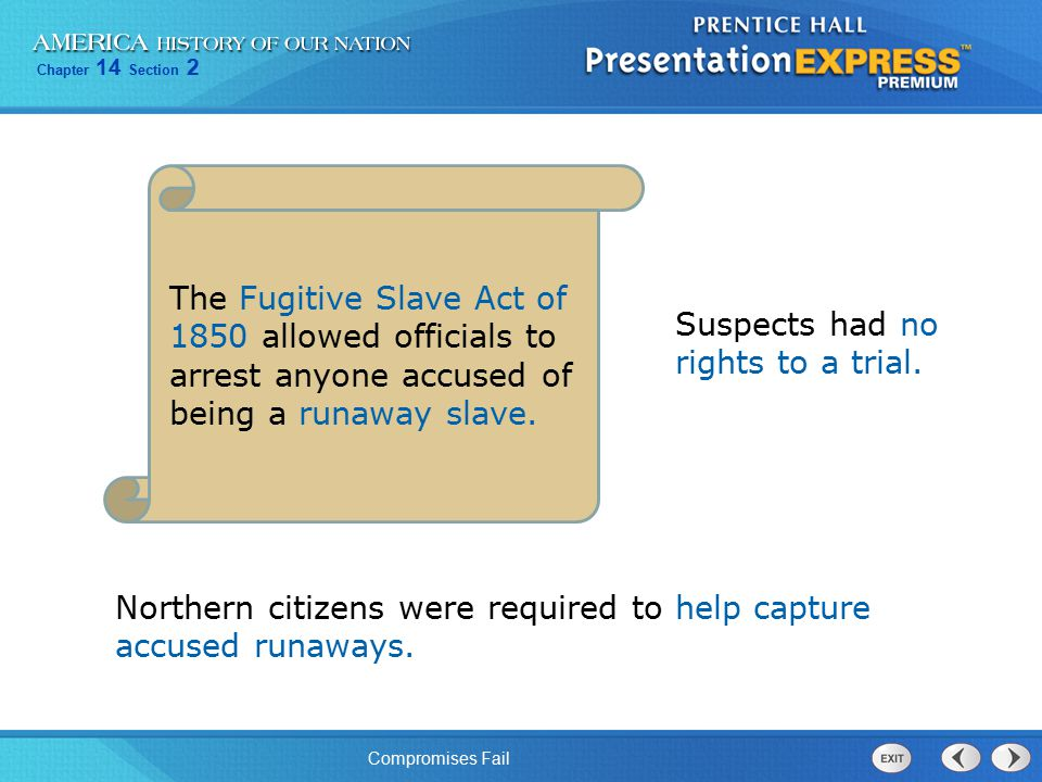 The Fugitive Slave Act of 1850 allowed officials to arrest anyone accused of being a runaway slave.