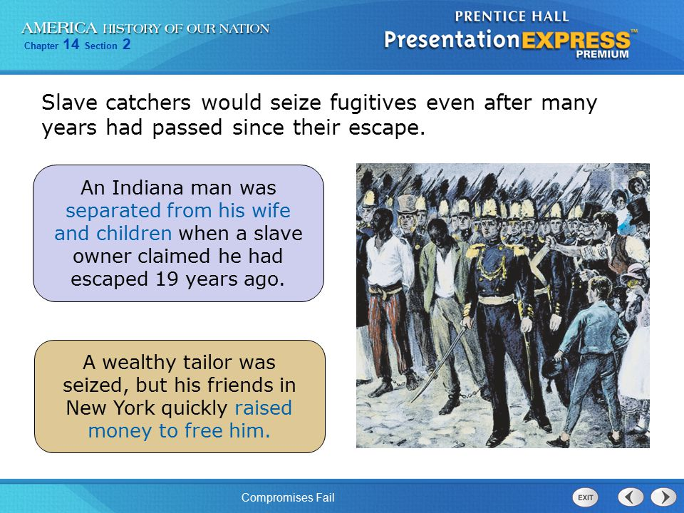 Slave catchers would seize fugitives even after many years had passed since their escape.