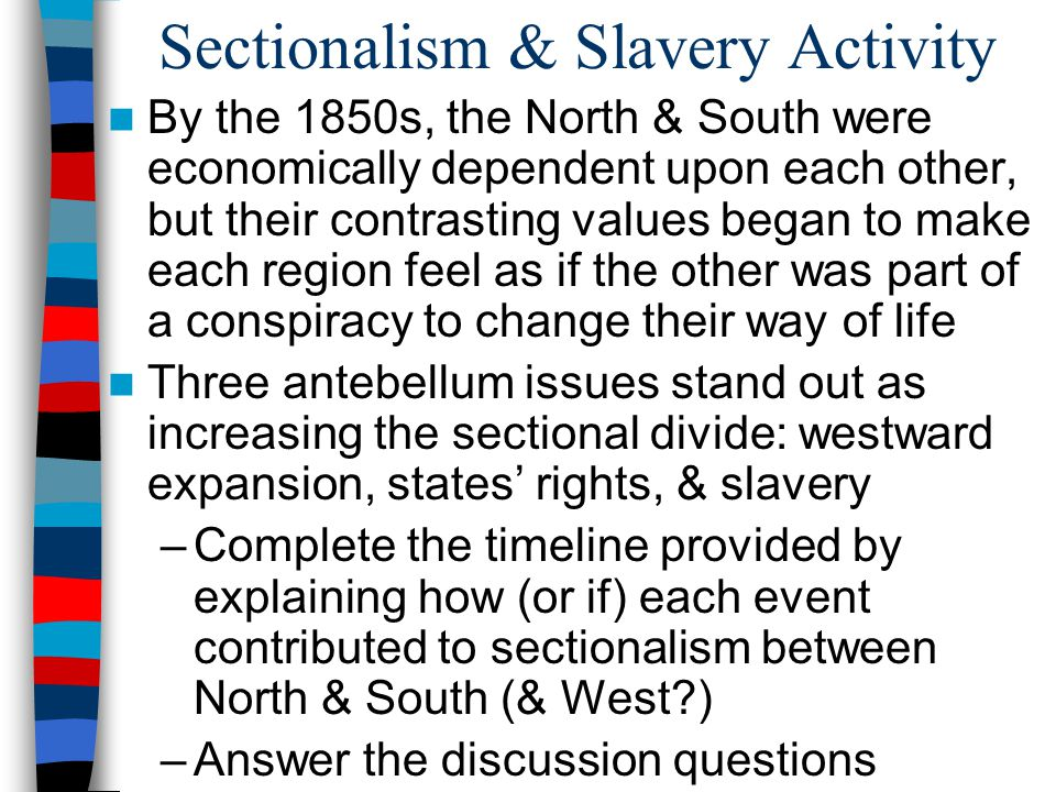 Sectionalism & Slavery Activity