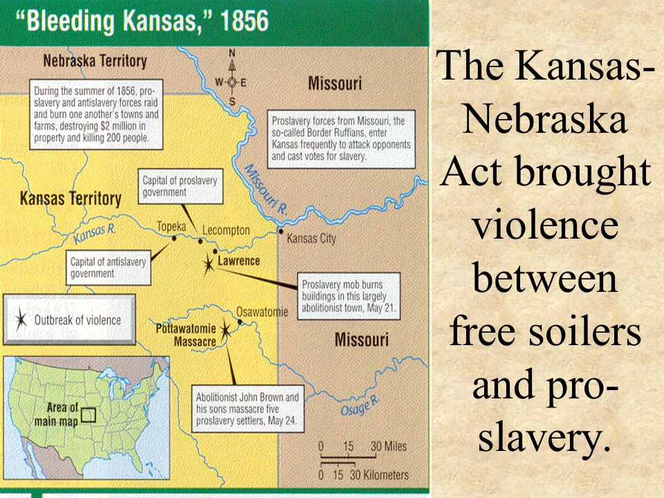 The Kansas-Nebraska Act brought violence between free soilers and pro-slavery.