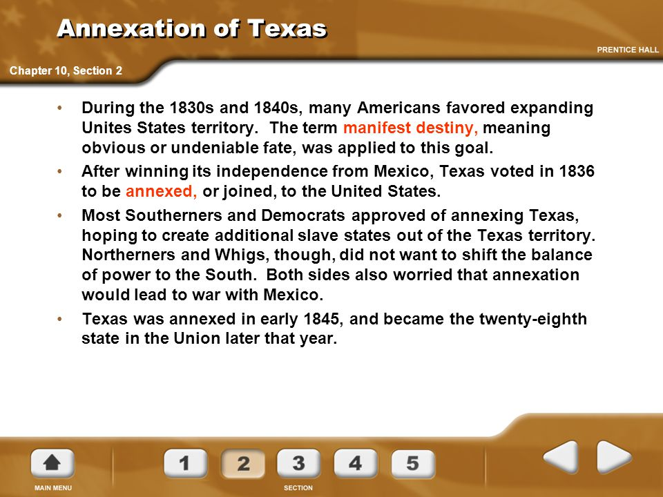 Annexation of Texas Chapter 10, Section 2.