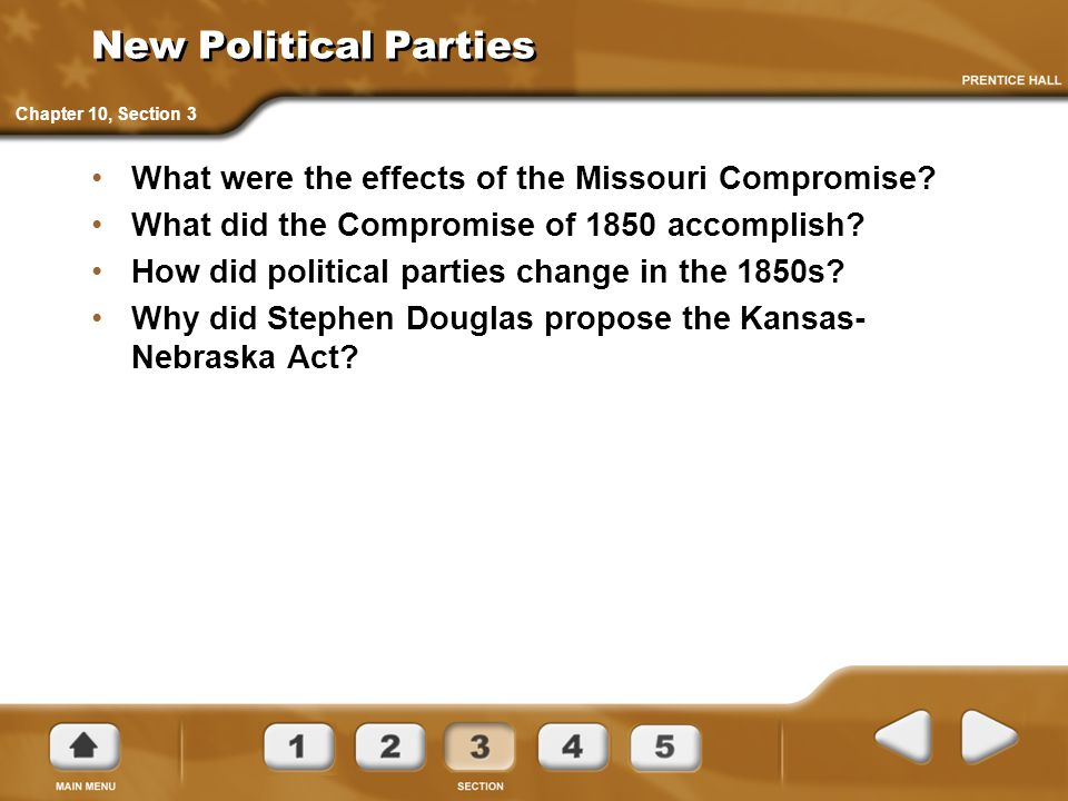 New Political Parties Chapter 10, Section 3. What were the effects of the Missouri Compromise What did the Compromise of 1850 accomplish