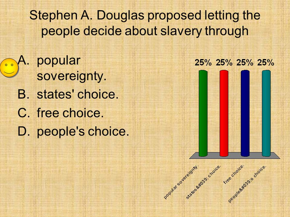Stephen A. Douglas proposed letting the people decide about slavery through