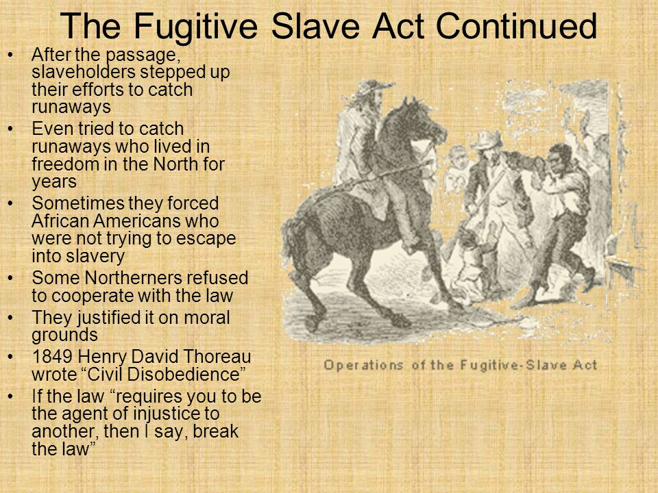 The Fugitive Slave Act Continued